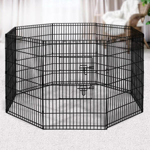 Pet Play Pen, 8 Panel, Black, 36in
