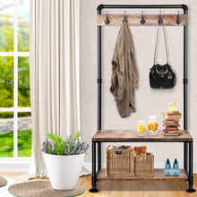 Load image into Gallery viewer, Rustic Pipe Coat & Shoe Rack, Industrial