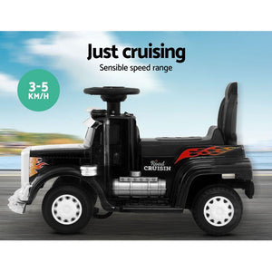 Kids' Ride On Truck, 25W Motor, Black