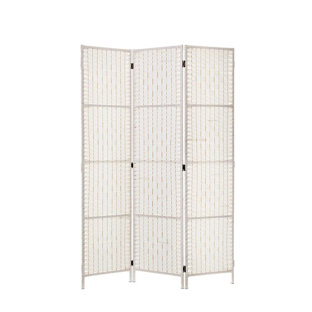 Artiss 3 Panels Room Divider Screen Privacy Rattan Timber Fold Woven Stand White