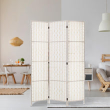 Load image into Gallery viewer, Rattan Room Divider, 3 Panel, White