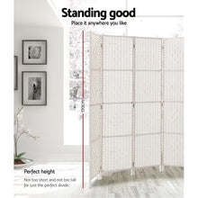 Load image into Gallery viewer, Rattan Room Divider, 4 Panel, White