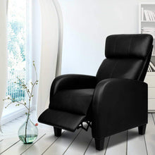 Load image into Gallery viewer, Sleek Armchair Recliner, Leather, Black