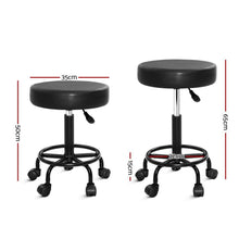Load image into Gallery viewer, Salon Stool, Swivel, Hydraulic Lift,  Round, Leather, Black