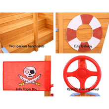Load image into Gallery viewer, Kids' Wooden Boat Sand Pit with Canopy