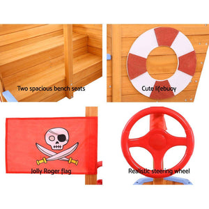 Kids' Wooden Boat Sand Pit with Canopy