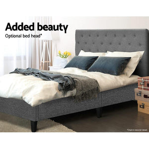Bed Base, Farbic, Wooden, Grey, King Single