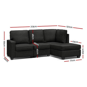 Sofa Lounge, Dark Grey, 4 Seater