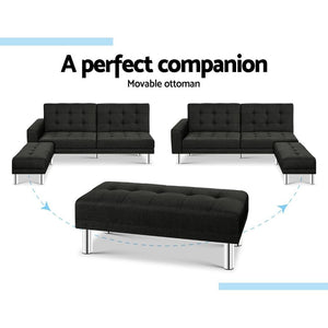 Sofa Bed, Fabric, Charcoal, 3 Seater
