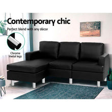 Load image into Gallery viewer, Sofa Lounge Set, Corner Chaise, Futon, Leather, 4 Seater, Black