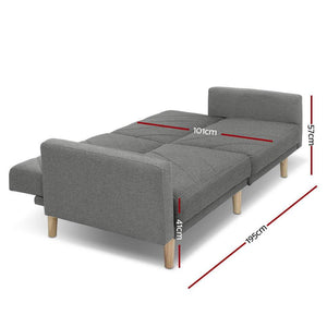 Sofa Bed, Recliner, Fabric, 3 Seater, Grey, 1950mm
