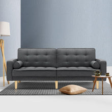 Load image into Gallery viewer, Sofa Bed, Recliner, Fabric, Tufted, 3 Seater, Dark Grey, 1950mm