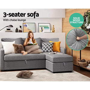 Sinead Sofa Bed, 3 Seater, Fabric, Grey