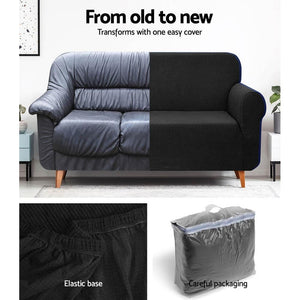Sofa Cover, High Stretch, 2 Seater, Black
