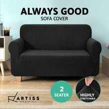 Load image into Gallery viewer, Sofa Cover, High Stretch, 2 Seater, Black