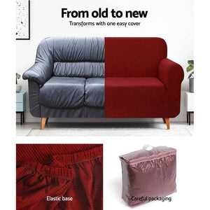 Sofa Cover, High Stretch, 3 Seater, Burgundy