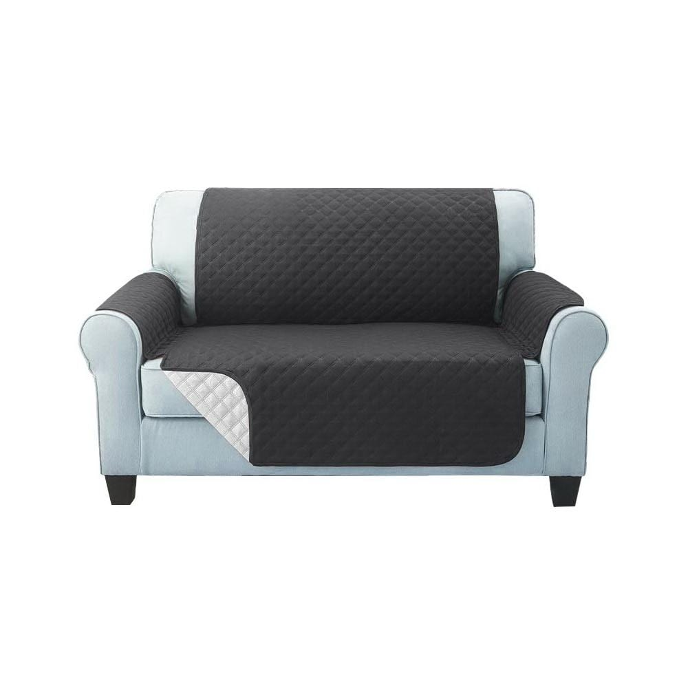 Sofa Cover, Quilted, 2 Seater, Dark Grey