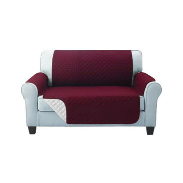 Sofa Cover, Quilted, 2 Seater, Burgundy