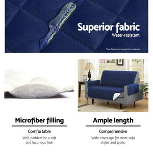Sofa Cover, Quilted, 3 Seater, Navy