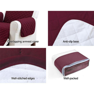 Sofa Cover, Quilted, 3 Seater, Burgundy