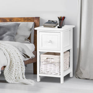 Esther Bedside Table, Wooden, White (Set of 2)