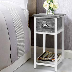 Valerie Bedside Table, Wooden, Grey