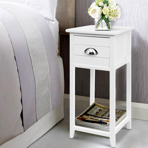 Valerie Bedside Table, Wooden, White