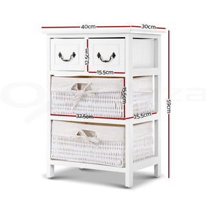 White Blaise Wooden Storage Rack with Baskets