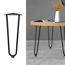 Load image into Gallery viewer, Coffee Dining Table Hairpin Legs, Steel, 2 Rod, Black, 45cm (Set of 4)