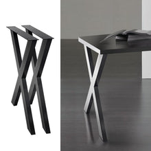 Load image into Gallery viewer, Coffee Dining Table Legs, Steel, X Shape, 710mm (Set of 2)