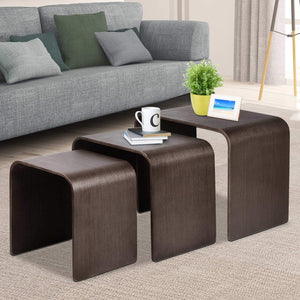 Thriwl Nesting Coffee Table Set, 3 Piece, Walnut