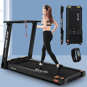 Treadmill, Electric, Compact, Fully Foldable, Black