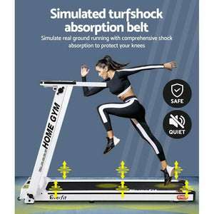 Treadmill, Electric, Compact, Fully Foldable, White