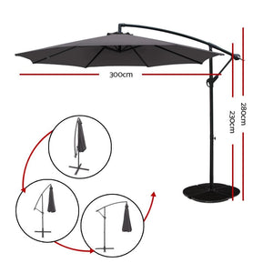 Outdoor Cantilever Umbrella, 8-Rib, Charcoal
