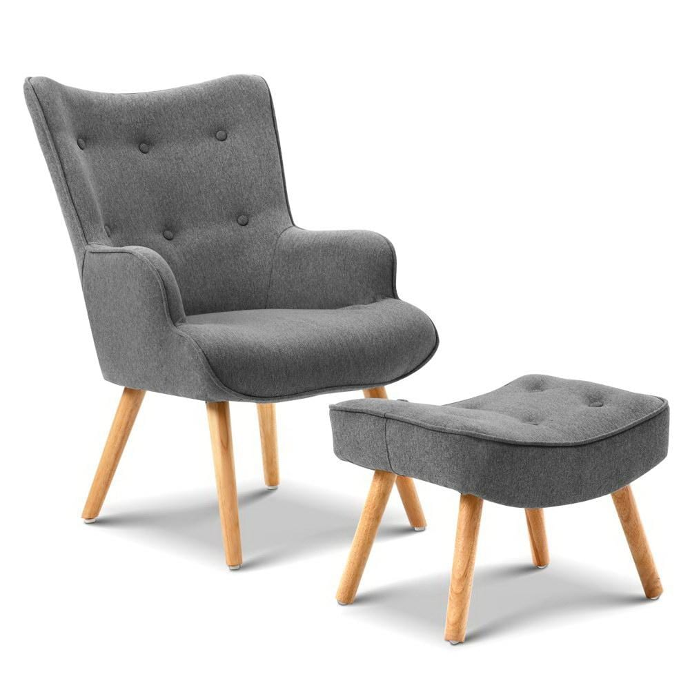 Artiss Armchair and Ottoman - Grey