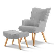 Load image into Gallery viewer, Artiss Armchair and Ottoman - Light Grey
