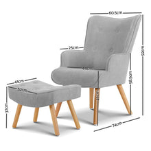 Load image into Gallery viewer, Lansar Chair & Ottoman Set, Light Grey