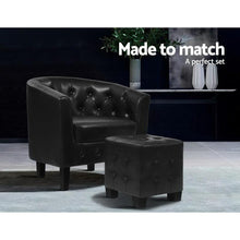 Load image into Gallery viewer, Ava Tub Chair & Ottoman, Leather, Black