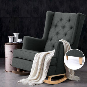 Rocking Armchair Recliner, Charcoal