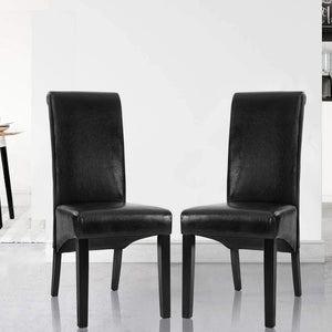 Tondo Dining Chairs, Leather, Black (Set of 2)