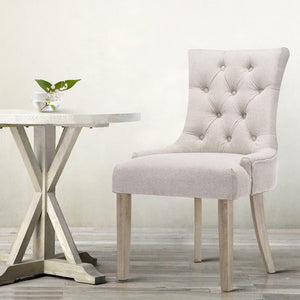 Lucien Dining Chairs, Fabric, Beige (Set of 2)
