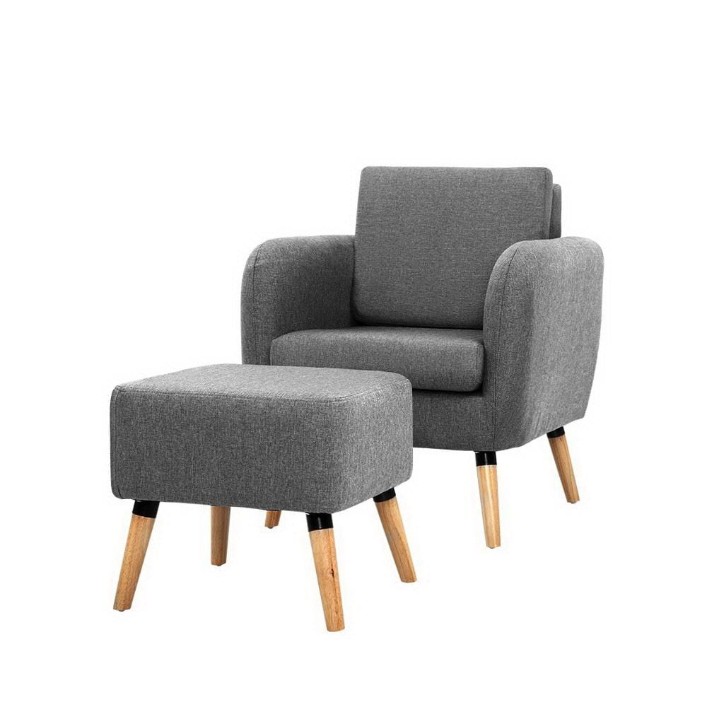 Domnique Armchair with Footstool, Grey