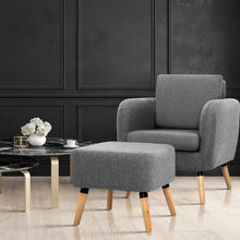 Load image into Gallery viewer, Domnique Armchair with Footstool, Grey