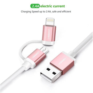 Micro-USB to USB Cable with Lightning Adapter, 1m