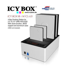Load image into Gallery viewer, ICY BOX 4 bay JBOD docking and cloning station with USB 3.0 for SATA hard disks and SSDs (IB-141CL-U3)