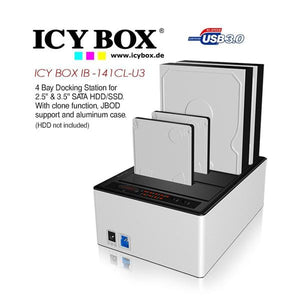 ICY BOX 4 bay JBOD docking and cloning station with USB 3.0 for SATA hard disks and SSDs (IB-141CL-U3)
