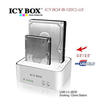 Load image into Gallery viewer, ICY BOX 2 bay JBOD docking and cloning station for SATA HDDs and SSDs with USB 3.0 (IB-120CL-U3)