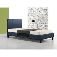 Load image into Gallery viewer, Single PU Leather Bed Frame Blue