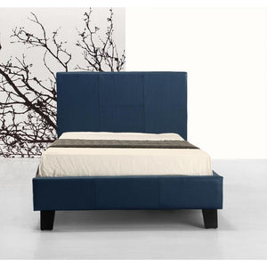 Bed Frame, PU Leather, Blue, Single