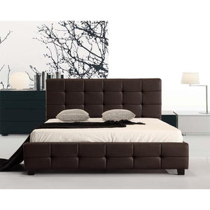 Bed Frame, PU Leather, Deluxe, Brown, Double